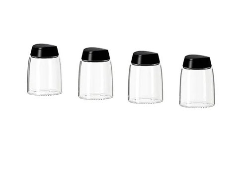 IKEA 365+ IHÄRDIG Glass Spice Jar, 4-Piece, Black