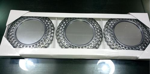 Glamorous Cascading Orbs Silver Framed Round Wall Mirror