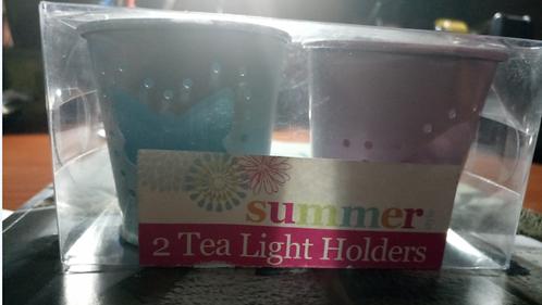 Blue & Pink 2-Piece Metal Butterfly Cut-out Tealight Holder, Summer Living
