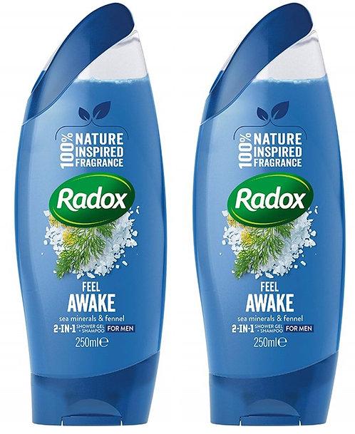 Feel Awake for Men 2-in-1 Shower Gel and Shampoo 250 ml, 2-pack - Radox