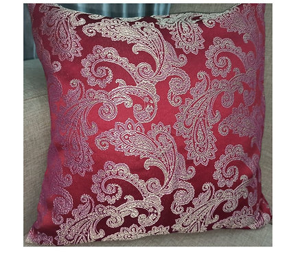 Wine and Gold Full Jacquard Cushion Cover - 40cm, 40×40 cm