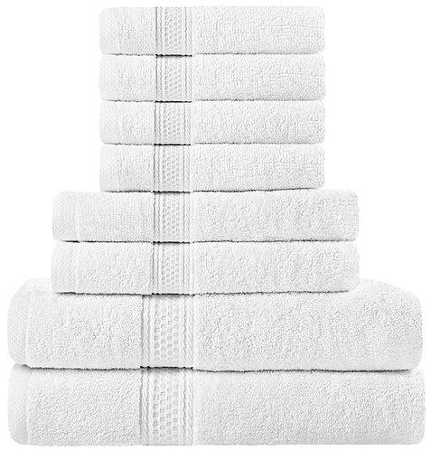 Utopia Towels Premium 8-Piece Towel Set (White)