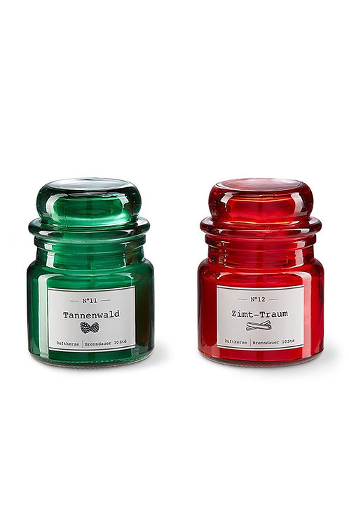 Classic Jar Candle Glass 2-Piece, Red/Green by Tchibo