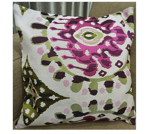 Pink and Green Jacquard Cushion Cover - 40×40 cm