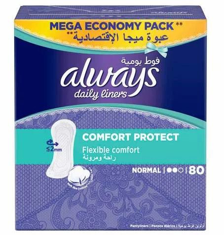 Daily Liners Comfort Protect Pantyliners Normal, 80-Pieces – Always