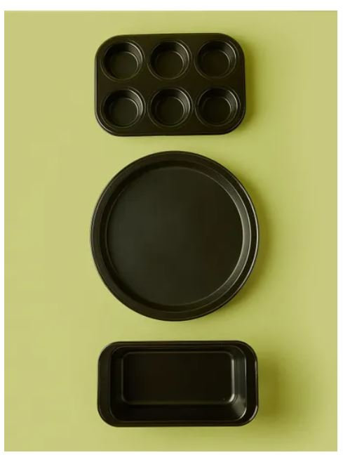 Carbon Steel Baking Pans Loaf 3-Piece Set, Black by Noon East