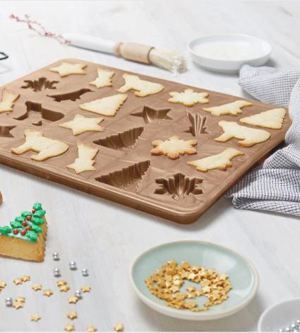 3D Cookies Baking Mat, Gold Metallic