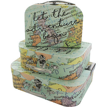 World Map Let The Adventure Begin Storage Suitcase – Set Of 3