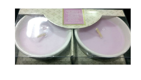 Sugared Almonds Ceramic Bowl Candles, 2-pack