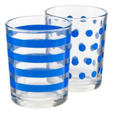 Blue & White 2-Piece Glass Tealight Holder, Summer Living