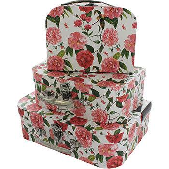 Pink Floral Storage Suitcase – Set Of 3