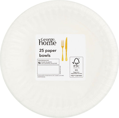 25-Pack White Paper Bowls, George Home