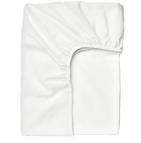 TAGGVALLMO Fitted Sheet, White, 150x200 cm