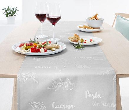 Italian and Mediterranean Motifs Table Runner, Grey by Tchibo