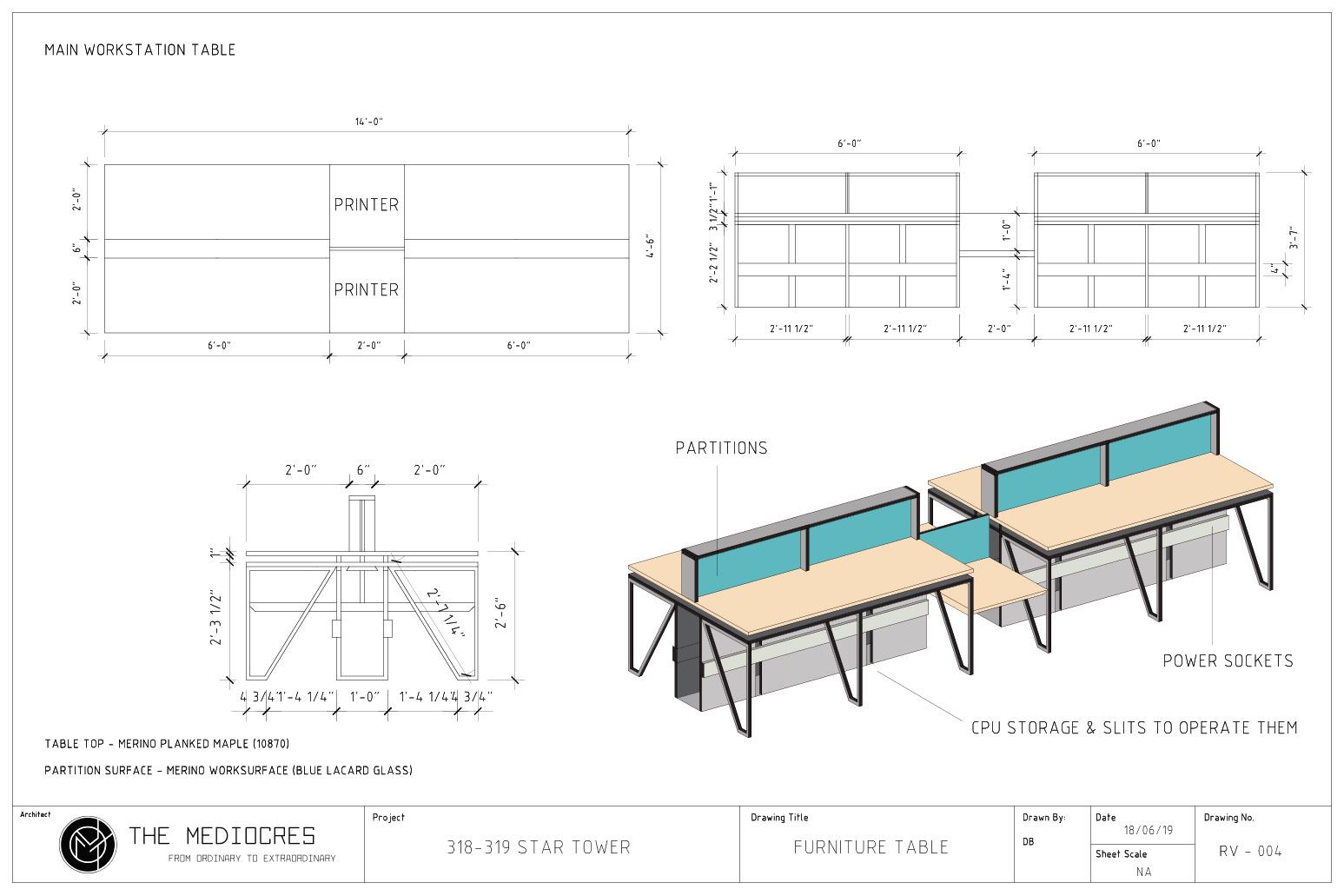WORKSTATION TABLE DWG