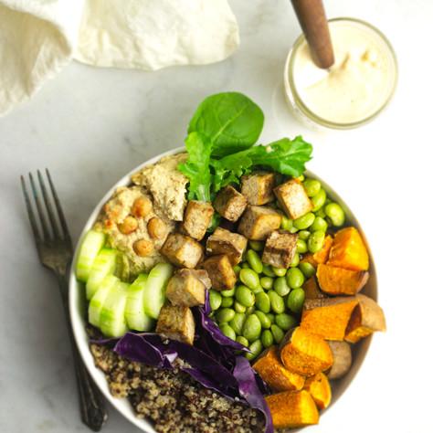 quinoa buddah bowl with crispy tofu