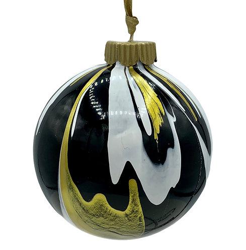 Modern Black, White and Gold Metallic Glass Ball Ornament