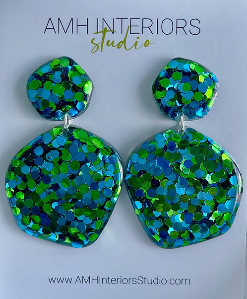Green and Blue Glitter Dot Resin Earrings with Sterling Silver