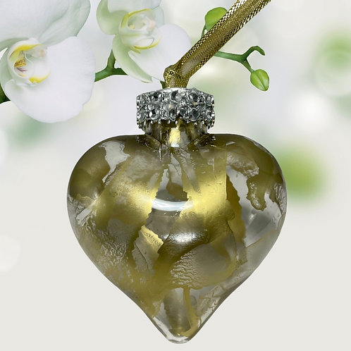 Decorative View Gold Alcohol Inks Heart Ornament   AMH Interiors Studio