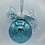 Back View Aqua and Silver Glitter Glass Ball Ornament with Faux Fur