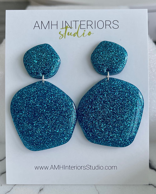Peacock Blue Glitter Resin Earrings with Sterling Silver