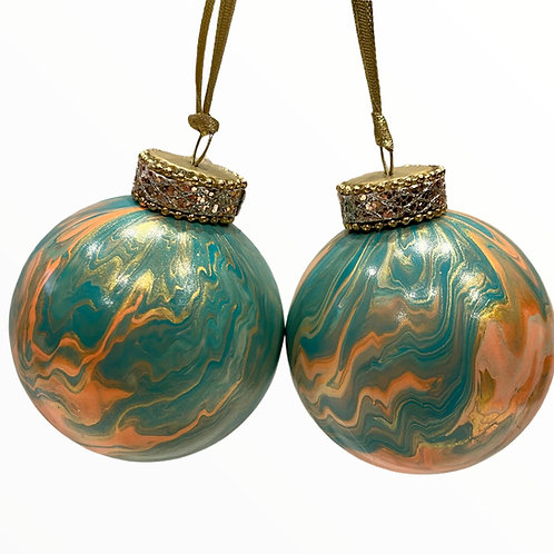 Front View of Set of 2-Turquoise and Coral  Marble Glass Ornaments