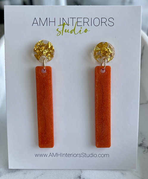 Orange and Gold Flakes Resin Drop Earrings