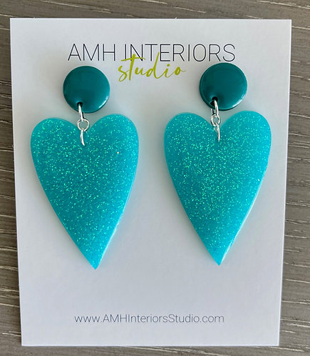 Teal Heart Shaped Glitter Resin Earrings with Sterling Silver