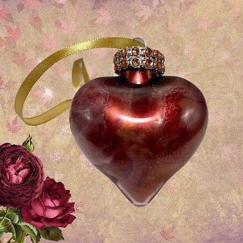 Decorative View Copper Alcohol Ink Heart Ornament | AMH Interiors Studio
