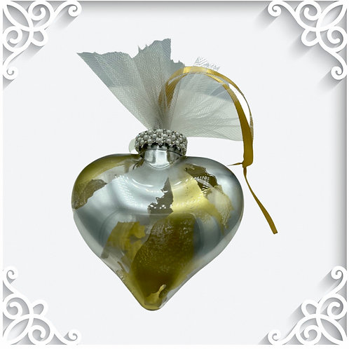 Decorative View Gold and Silver Alcohol Inks Heart Ornament | AMH Interiors Studio