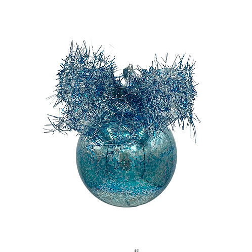 Aqua and Silver Glitter Glass Ball Ornament with a Bow