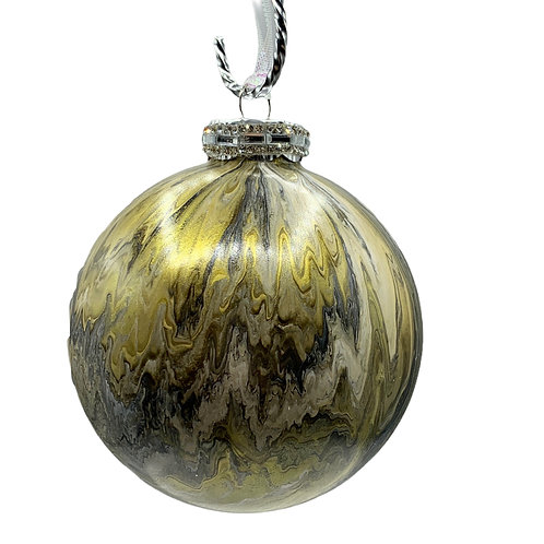 Modern X-Large Gold Metallic & Grey Acrylic Painted Marble like Glass Ornament