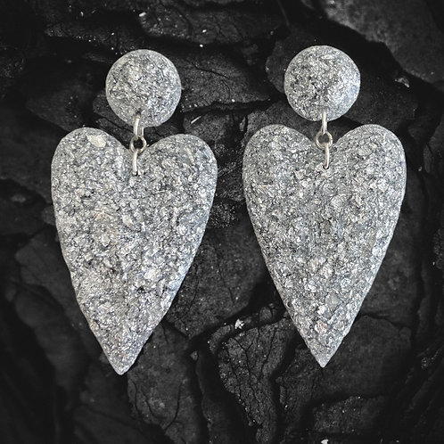 Heart Shaped Silver Flakes in Resin Earrings with Sterling Silver