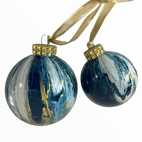 Front View of Glass Ornaments in Navy Blue, White and Gold Metallic