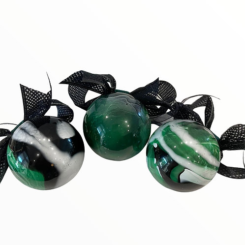 View of Set of 3- Modern Emerald, Black and White Glass Ornaments