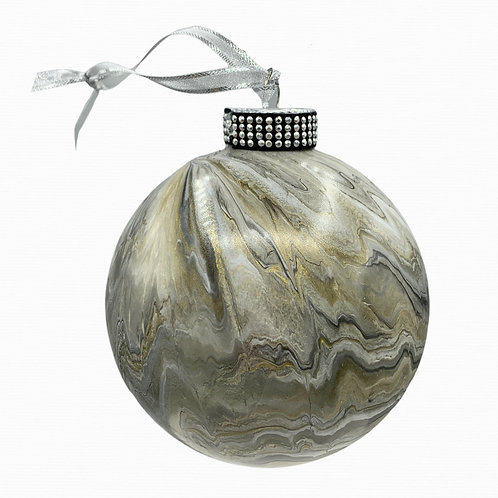 X-Large Modern Gold and Grey Metallic Acrylic Marble Glass Ornament