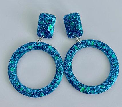 Peacock Blue Resin Hoop Earrings with Sterling Silver