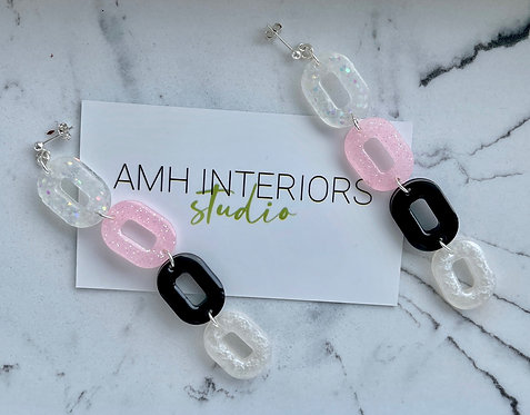 Pink, White, Black and Clear Chain Drop Resin Earrings with Sterling Silver