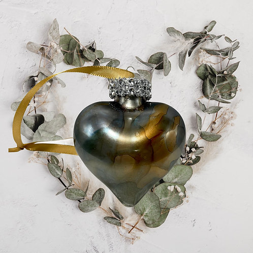 Sage Alcohol Ink Heart Ornament