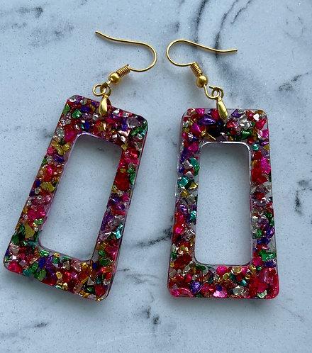 Metallic Colored Crushed Glass Resin Earrings