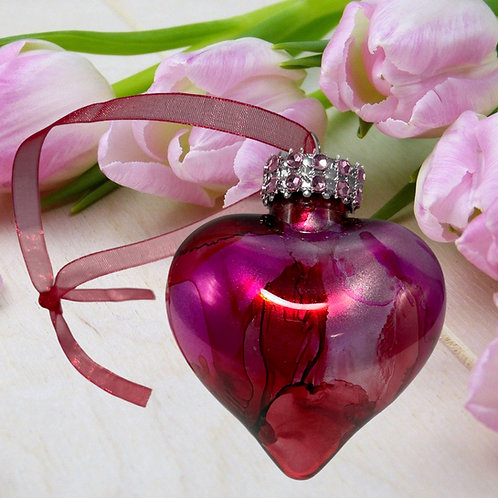 Decorative View Pretty Pink Alcohol Ink Heart Ornament | AMH Interiors Studio