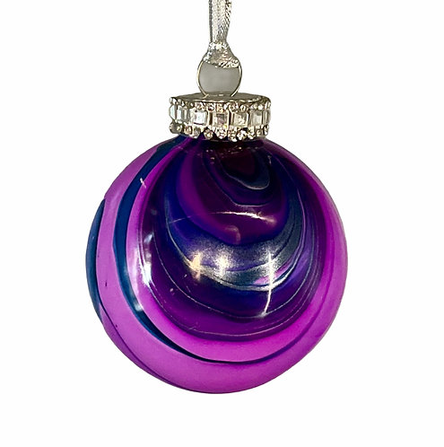 Purple Marble Glass Ornament with mirrored trim