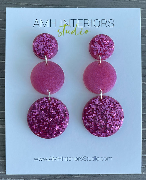 Shades of Pink Resin Sterling Silver Earrings