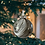 Christmas Tree View Grey, White and Gold Metallic Painted Glass Ball Ornament