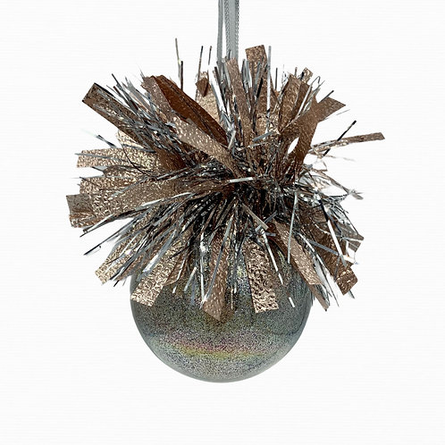 Front View Rose Gold Glitter Glass Ball Ornament