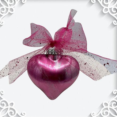 Decorative View Pink Metallic Alcohol Inks Heart Ornament | AMH Interiors Studio