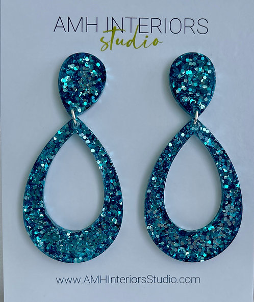Blue and Silver Teardrop Glitter Resin Earrings with Sterling Silver