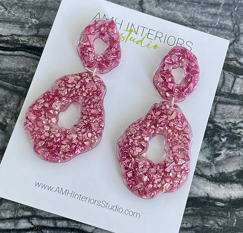 Pink Glass Drop Resin Earrings with Sterling Silver Findings