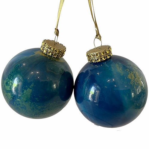 Front View Set of 2- Shades of Blue Glass Ornaments with Gold Mica