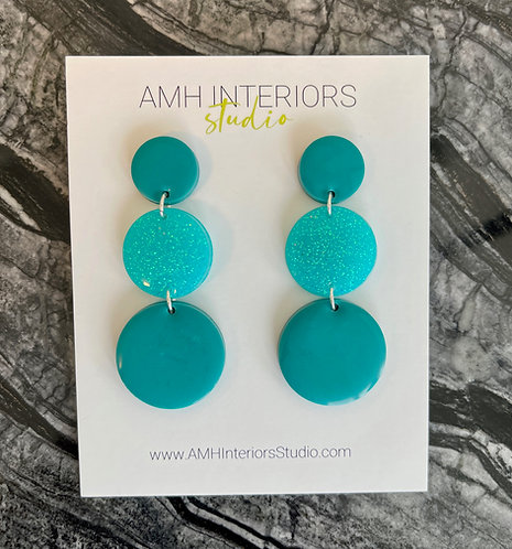 Teal Green Sparkle Drop Resin Earrings with Sterling Silver